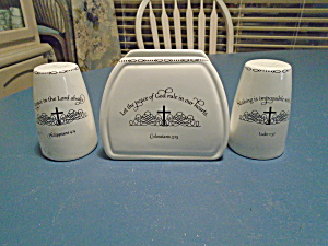 Coventry Table Graces Bible Verse Salt/pepper & Napkin Holder