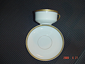 H And C Gold And White Saucer