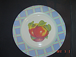 Arcopal Blue Plaid Rim With Fruit Dinner Plates