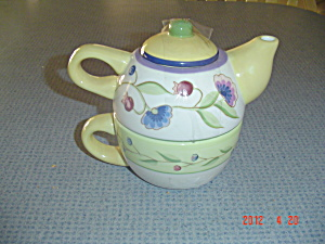 Mikasa Studio Nova Provence Garden Individual Tea Pot And Cup
