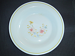 Arcopal Arp11 Flat Rimmed Bowls Yellow Line Pastel Flowers