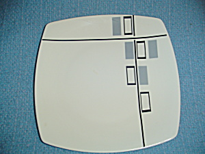 Coventry Tetrus Grey And Black Square Dinner Plates
