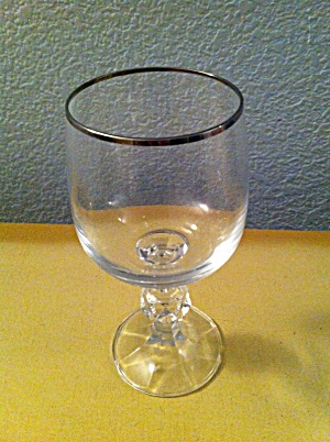 Import Assoc Claudia Water Goblets W/platinum Rims Bohemia Crystal