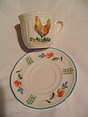 Nortake Epoch Red Rooster Cups And Saucers