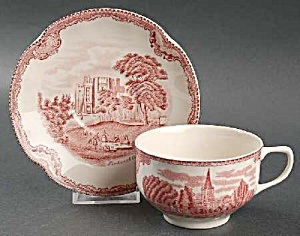 Johnson Bros Old Britain Castles Pink Cups/saucers Crown Stamp