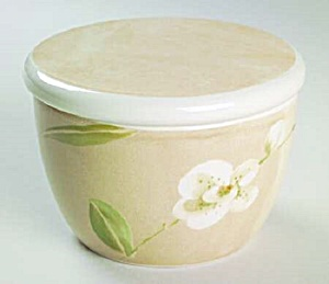 Crate & Barrel Orchid Covered Sugar Bowl