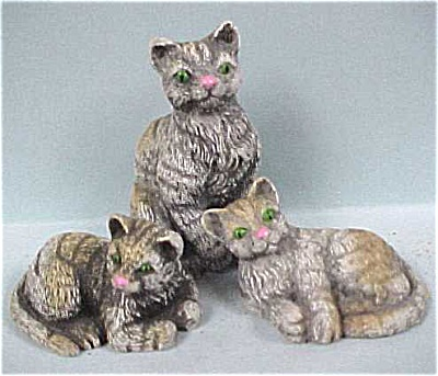 Resin Grey Cat Trio