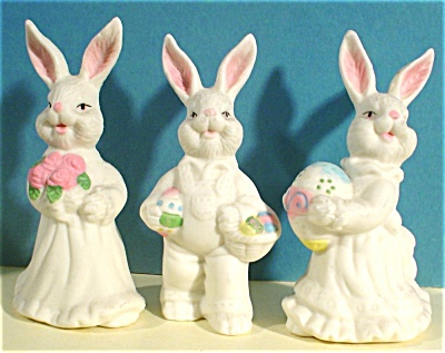 Three Bone China Rabbits