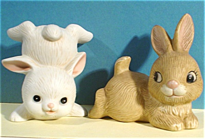 Homco Bone China Bunny Rabbit Pair