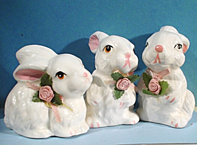 Ceramic Rabbit Trio