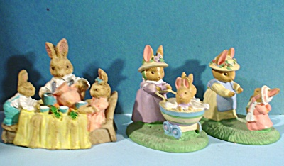 Three Bunny Rabbit Figurines
