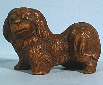 1930s Miniature Wood Composite Pekingese Dog