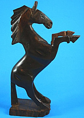 Carved Wood Rearing Horse