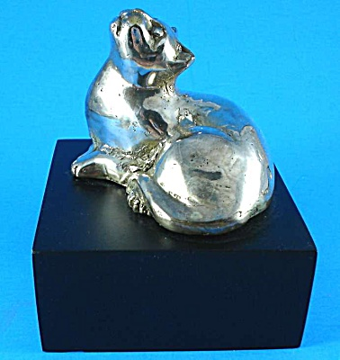 Silver Plated Cat Sculpture On Base