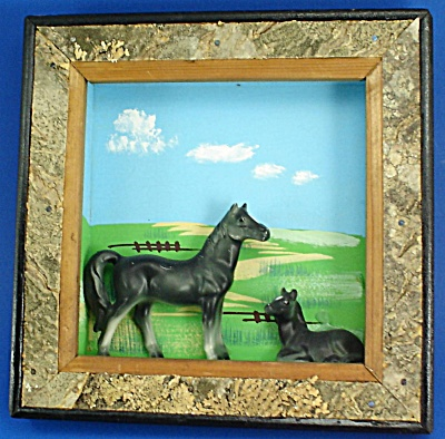 Enesco Ceramic Horse Pair On Wood Wall Hanger