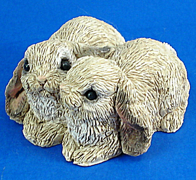 Miniature Stone Critters Lop Ear Bunny Rabbit Pair