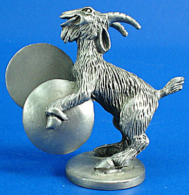 Hudson Pewter Miniature Goat Playing Cymbals