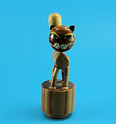 Vintage Wood Cat Puppet Toy