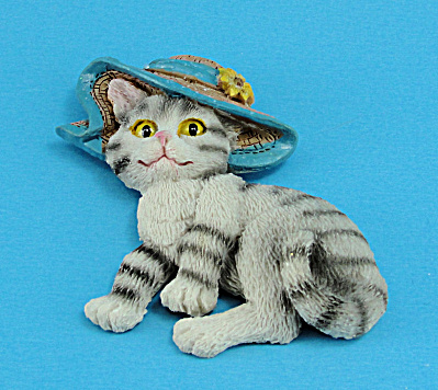 Resin Refrigerator Magnet Tabby Cat Wearing A Hat