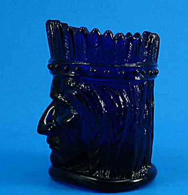 1970s St Clair Glass Cobalt Indian Toothpick Holder