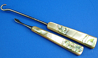 Vintage Shell Handle Buttonhook And Nail Cleaner