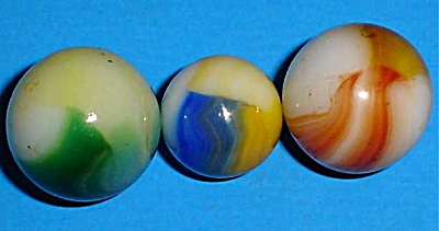 Three Akro Agate Patch Marbles