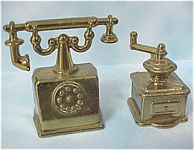 Brass Finish Pot Metal Phone And Coffee Grinder
