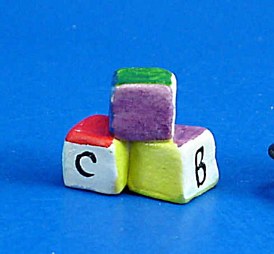 Dollhouse Miniature Hand Painted Ceramic Abc Blocks