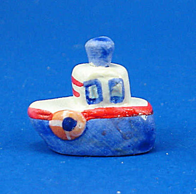 Dollhouse Miniature Hand Painted Ceramic Boat