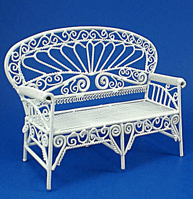 Dollhouse Miniature Wicker Style Metal Couch