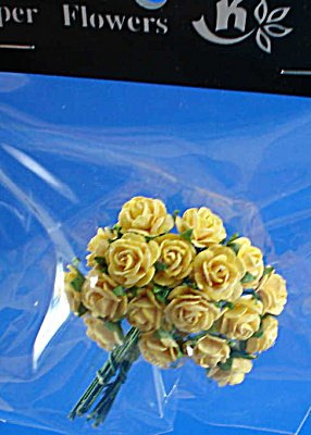 Miniature Paper Flowers - Yellow Rose