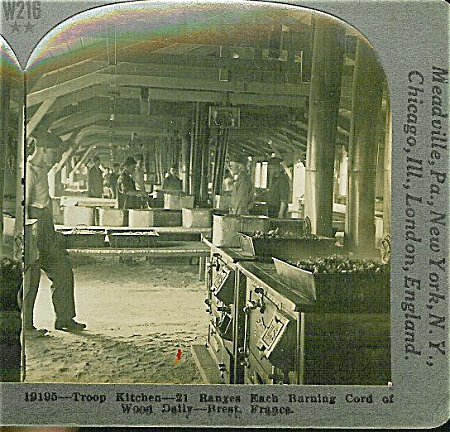 Stereoview - Wwi -vast U.s. Kitchen At Brest.