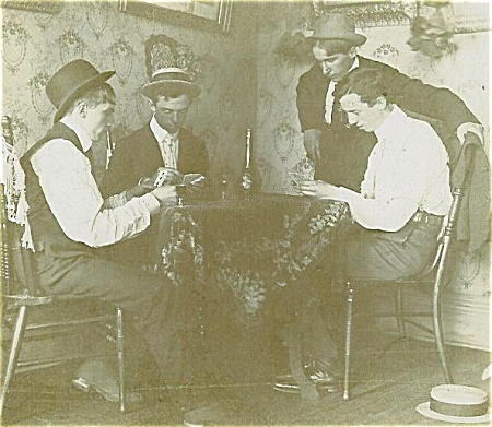 Cabinet Photo - Card Game In Progress C.1890's.