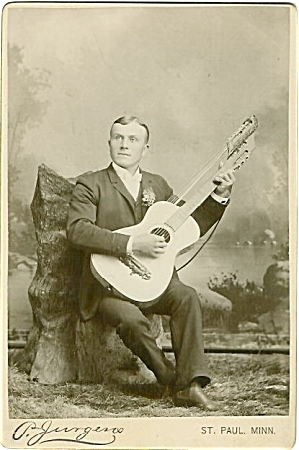 Cabinet Photo Of Harp Guitar Musician C.1890