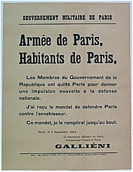Rare Wwi 1914 Poster Gen. Gallieni Battle Of The Marne