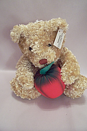 Blonde Plush Stuffed Bear With Apple