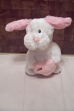 Animated White Rabbit W/pink Ears & Heart