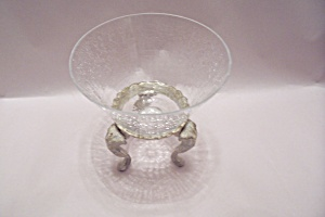Crystal Crackle Glass Bowl On Stand