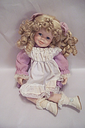 Porcelain & Cloth Blonde Haired Girl Doll