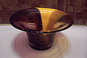Yellow & Dark Amber Footed Art Glass Bowl