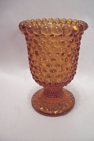 Amber Hobnail Glass Pedestal Toothpick Holder