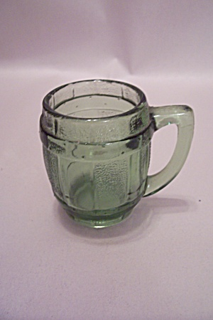 Green Glass Barrel Shaped Mug Toothpick Holder