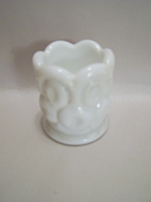 Westmoreland Thumbprint Milk Glass Toothpick Holder