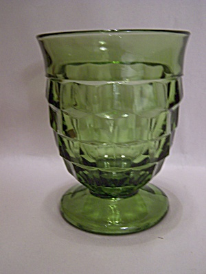 Indiana Glass Southhall Pattern Green Footed Tumbler
