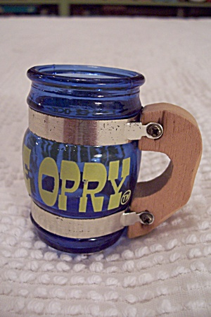 Cobalt Blue Glass Grand Ole Opry Mug Toothpick Holder
