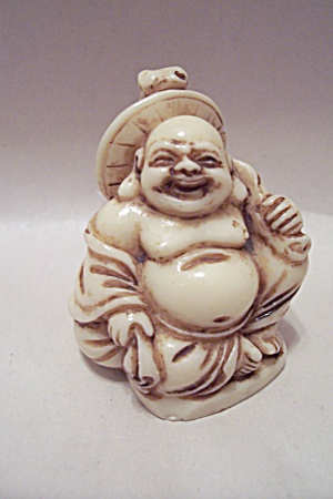 Carved Oriental Ivory Sitting Buddha