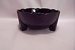 Black Glass Three Footed Bowl