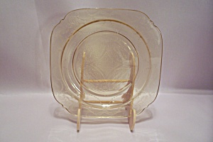 Yellow Depression Glass Square Salad Plate