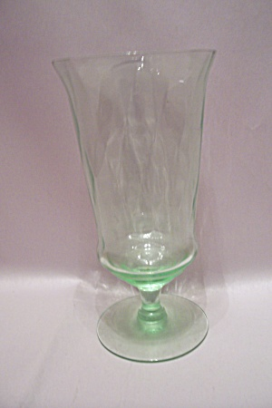 Light Green Depression Glass Footed Tumbler