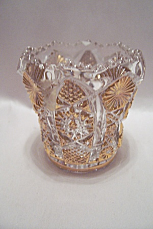 Imperial Gilt Trimmed Glass Toothpick Holder